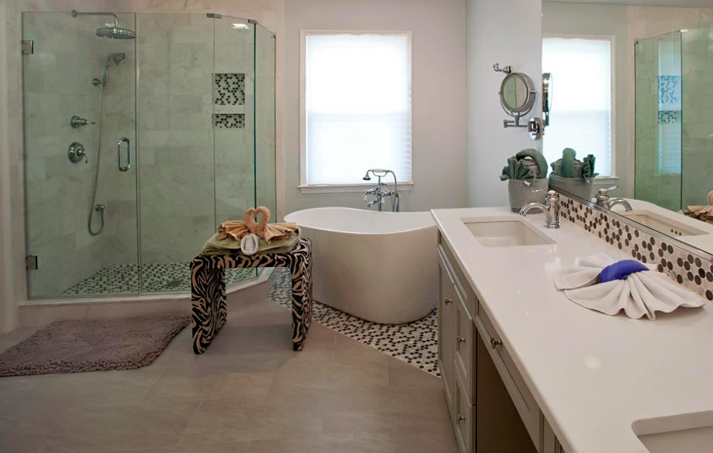 A contemporary bathroom remodel done in a Robbinsville NJ home