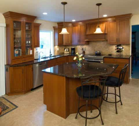 Beautifully stained wood cabinetry is a focal point in this Yardley, PA kitchen design