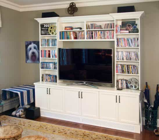 This entertainment system built in a Princeton, NJ home is a beautiful focal point for a living room