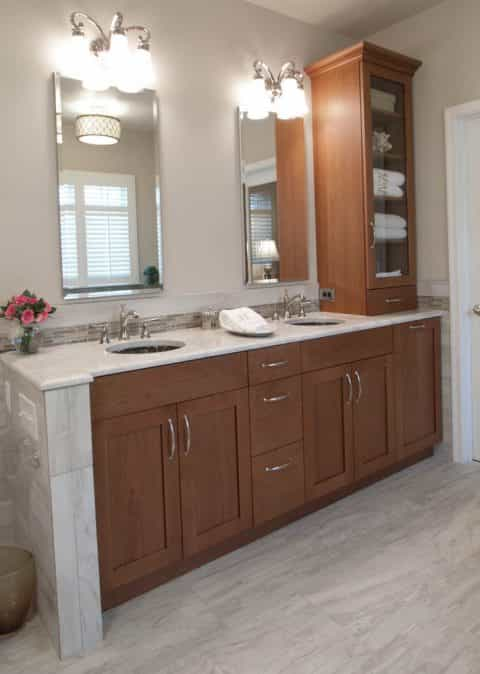 Clean lines and neutral coloring bring together a gorgeous transitional look for this bathroom design in Washington Crossing, PA