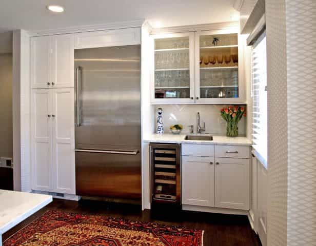 A bar built in a Pennington NJ home provides extra storage and convenient placement for entertaining