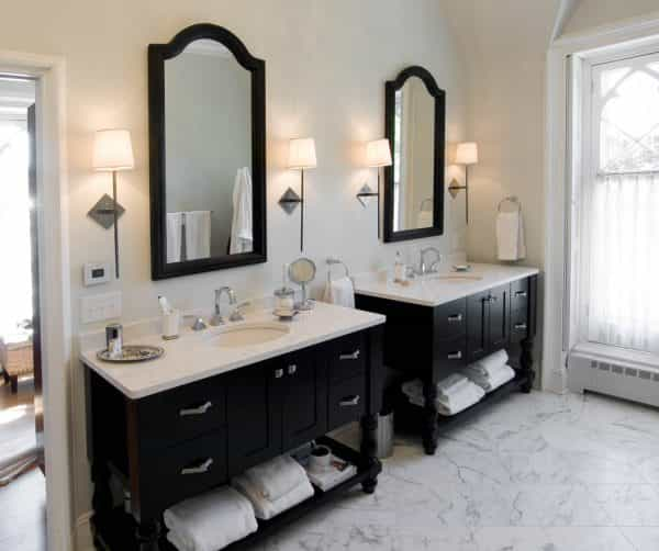 Black cabinetry and white marble provides a classic look in this Princeton NJ bathroom design